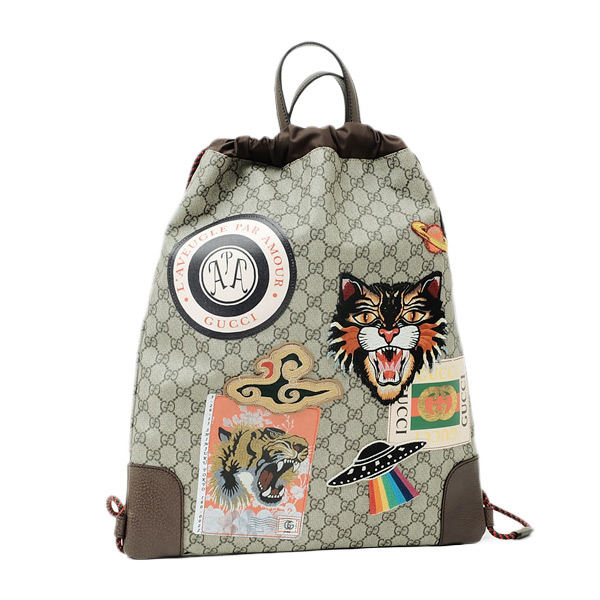 19fe27e9e5af グッチ GUCCI クーリエ Courrier キャット プリント ソフト GGスプリーム キャンバス ドローストリング バックパック ベージュ基調