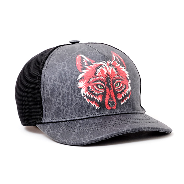 グッチ GUCCI GGスプリームキャンバス ウルフプリント ベースボール キャップ 帽子 ブラック×グレー [メンズ] 426887 4HF88 1060