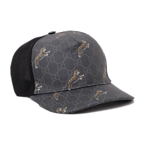グッチ GUCCI GGスプリームキャンバス タイガープリント ベースボール キャップ 帽子 ブラック×グレー [メンズ] 426887 4HG90 1060