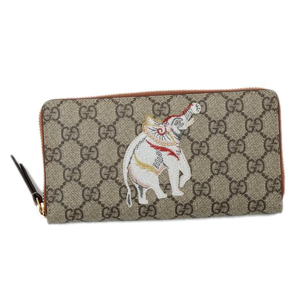 グッチ GUCCI インドの象 刺繍 INDIA GGスプリーム ウォレット ラウンドファスナー 長財布 ベージュ×エボニー×ブラウン [レディース] 456863 K6R6G 8315