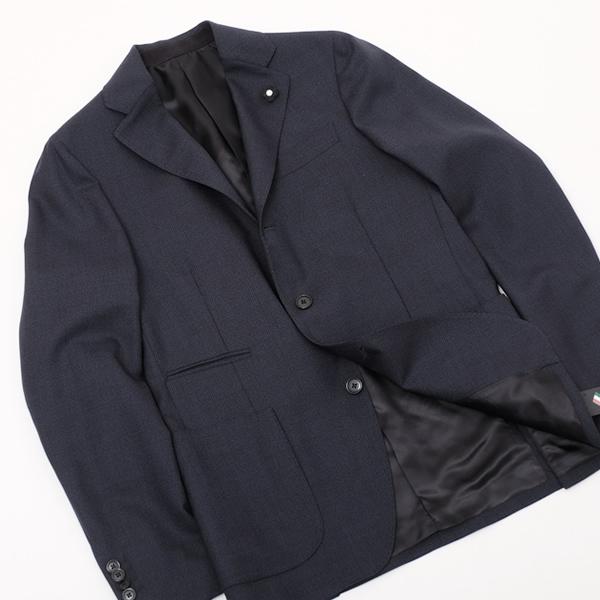 ラルディーニ LARDINI ウール 3釦 シングル ジャケット ネイビー×ブラック [メンズ] IE937A IEA49451