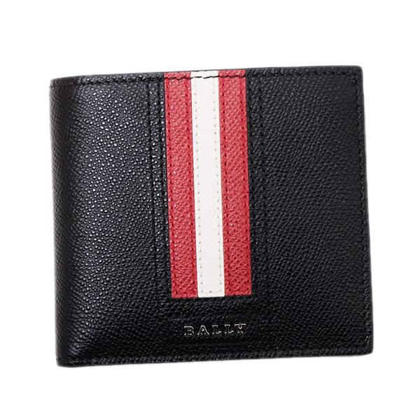 バリー BALLY レザー 二つ折財布(小銭入れなし) レッドホワイトライン ブラック [メンズ] TRASAI 210 6224893【通常価格23,870円→SALE価格20,200円】