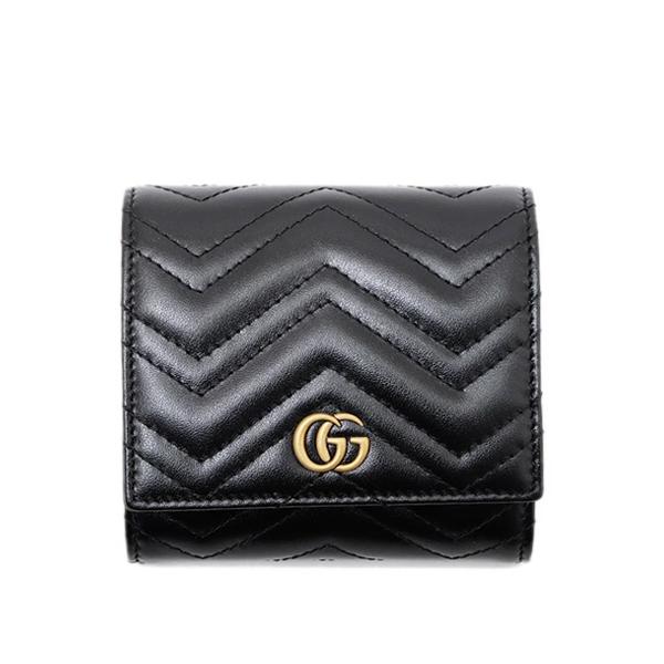 グッチ GUCCI GGマーモント キルティングレザー ウォレット 二つ折財布 ブラック [レディース] 598629 DTD1T 1000