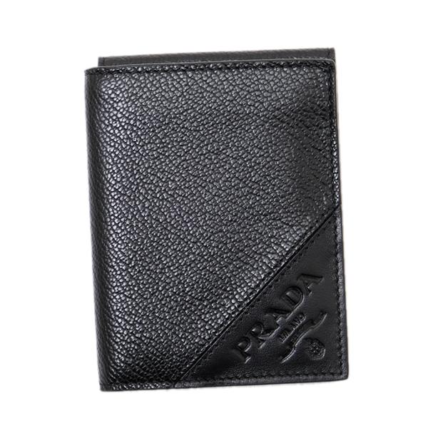 プラダ PRADA VIT MICRO GARIN レザー ウォレット 二つ折財布 カードケース [小銭入れなし] ブラック [メンズ] 2MO006 2CIF F0002