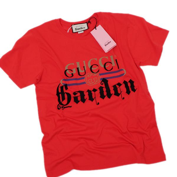 【サイズXS】グッチ ガーデン GUCCI Garden コットン ロゴ刺繍 半袖 Tシャツ レッド [メンズ] 493117 X9P74 6527