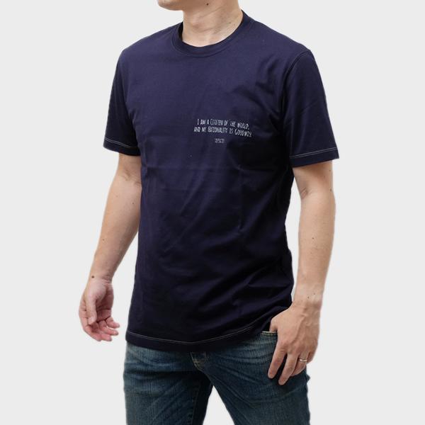 ブルネロクチネリ BRUNELLO CUCINELLI コットン 半袖 Tシャツ ネイビー [メンズ] M0T617473 CW283【お買い物マラソン★ラストスパート!ポイント 10 倍アイテム】