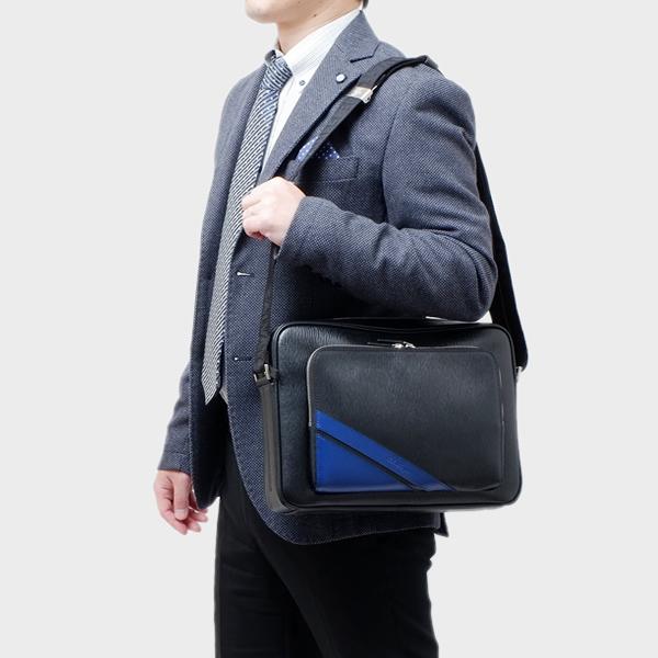 サルヴァトーレ フェラガモ Salvatore Ferragamo カーフレザー ショルダーバッグ ブラック×ロイヤルブルー 24 0372 0661619 NERO ROYAL BLUE