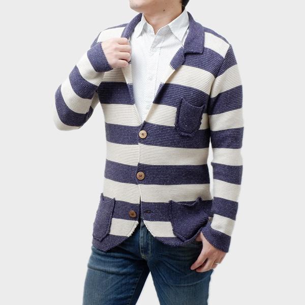 【サイズS】アウトフィット OUTFIT コットン混紡 長袖 ニット サマージャケット カーディガン ボーダー [メンズ] Z08 BLUE/IVORY