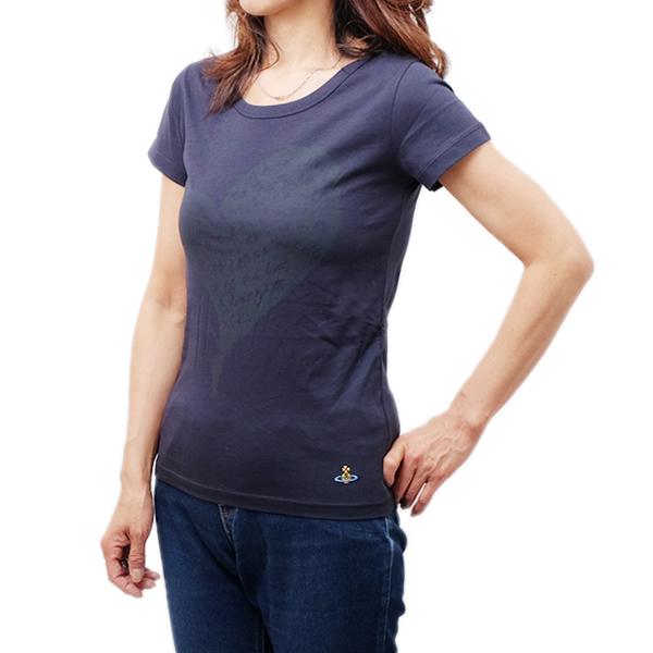 ヴィヴィアン ウェストウッド Vivienne Westwood オーガニックコットン 半袖 Tシャツ ネイビー系 [レディース] S26GC0183 S22634 487