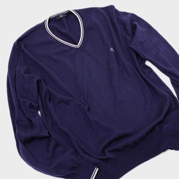 【サイズ56(4L)】フェイ FAY コットン Vネック ニット セーター ブルー系 [メンズ] NMMC1322300MHU4036