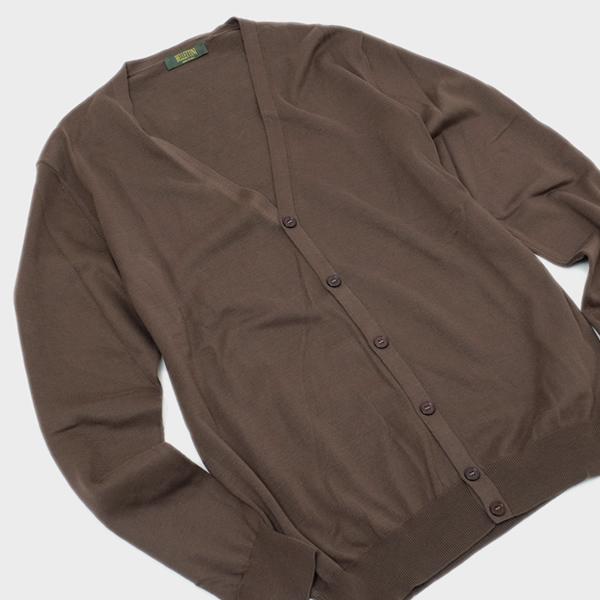 【サイズ54(3L)】イタリア製 BT コットン カーディガン ニット セーター ブラウン系 [メンズ] 58101 18193 194