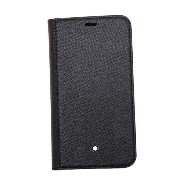 モンブラン MONTBLANC iPhoneXR用 サルトリアル レザー スマホ ケース ダブルフラップ付 手帳型 フリップサイドケース ブラック 124869【MBPT】