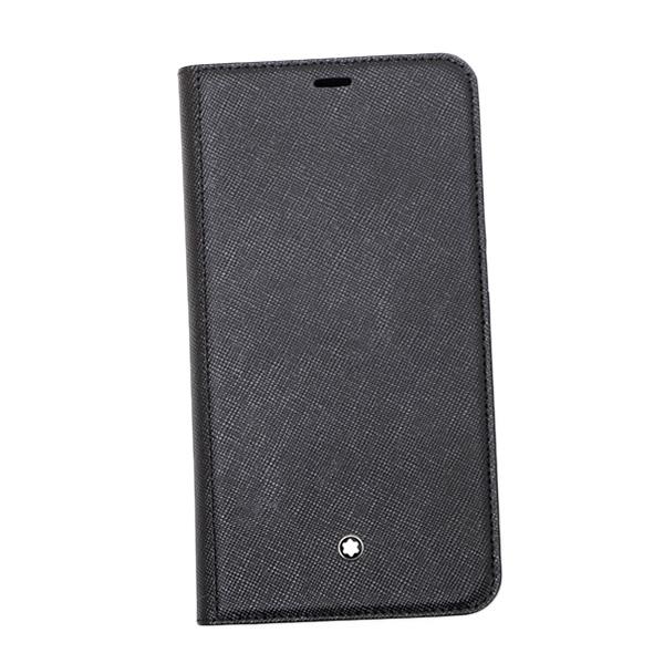 モンブラン MONTBLANC iPhoneXS Max用 サルトリアル レザー スマホ ケース ポケット付 手帳型 フリップサイドケース ブラック 124896