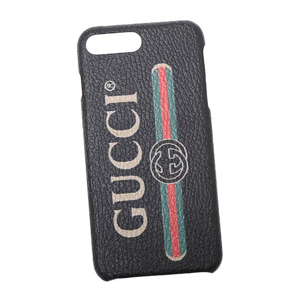 グッチ GUCCI ロゴプリント iPhone8 Plus用 スマホ ケース カバー ブラック ?549079 92E00 8161