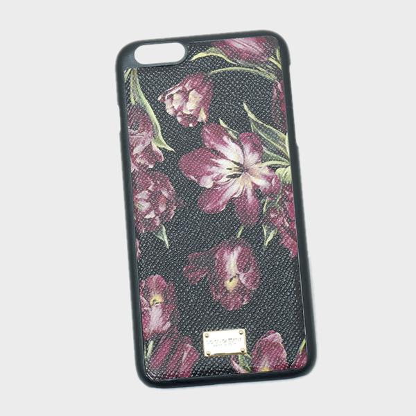 ドルチェ&ガッバーナ ドルガバ DOLCE&GABBANA iPhone6S plus用 スマホ ケース カバー 型押しレザー 花柄 フラワー ブラック基調 BI2126 AC685 HN26E【※】