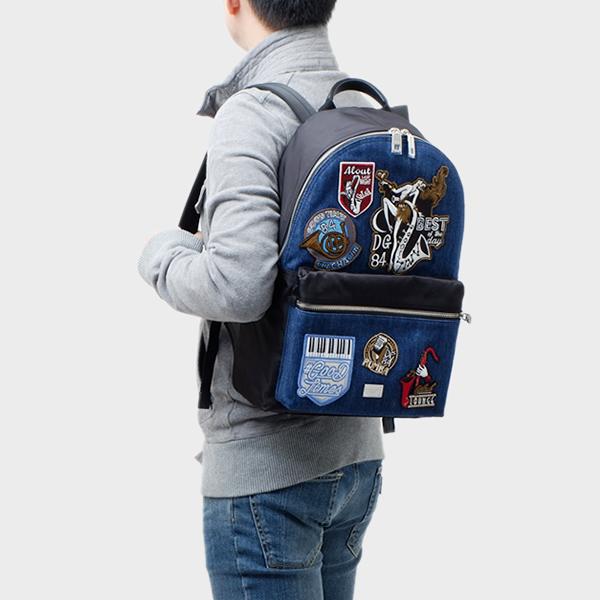 ドルチェ&ガッバーナ ドルガバ DOLCE&GABBANA パッチ付き バックパック リュックサック バッグ ブルー×ブラック BM1419 AG068 89853