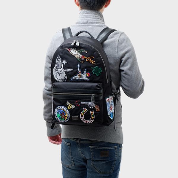 ドルチェ&ガッバーナ ドルガバ DOLCE&GABBANA パッチ付き バックパック リュックサック バッグ ブラック BM1263 AD864 80999
