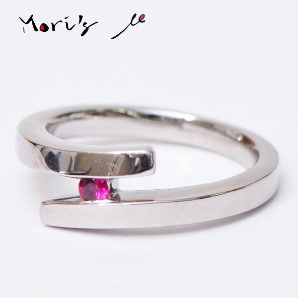 モリスルビー Mori's ruby μ【ミュー】 天然無処理 0.064ct K18WG リング 12号 (サイズ調整可能)