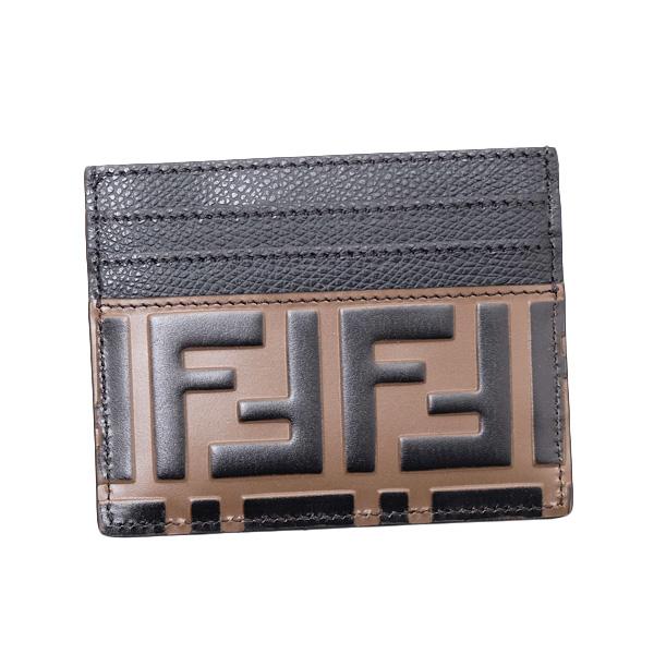 フェンディ FENDI FFロゴ エンボス カードケース ブラウン [メンズ] 8M0269 A6CB F13VK【●C2】
