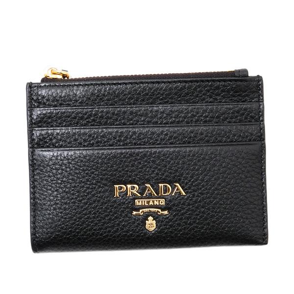 プラダ PRADA VITELLO GRAIN レザー カードケース コインケース ブラック [レディース] 1MC026 2E3A F0002