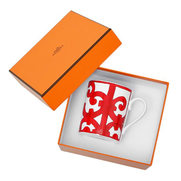 【お買い物マラソン】エルメス HERMES ガダルキヴィール マグカップ シングル 300ml 食器 陶器 ホワイト×レッド 011031【●D11】