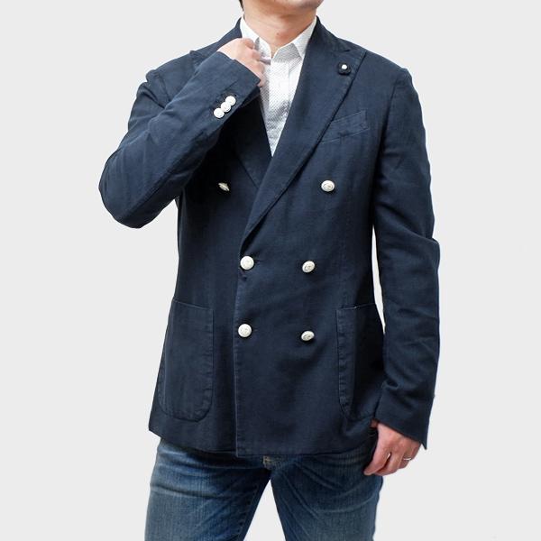 ラルディーニ LARDINI コットン 2釦 サマーダブルジャケット ブルー系 [メンズ] EC926AV RL48251 1【通常価格126,500円→SALE価格59,990円】