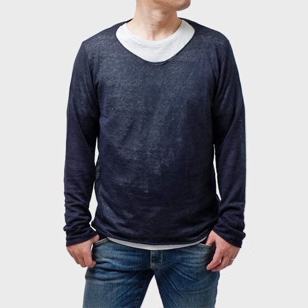 【サイズL】ダニエレフィエゾーリ DANIELE FIESOLI 長袖 サマーニット セーター ネイビー [メンズ] DF7025 0023