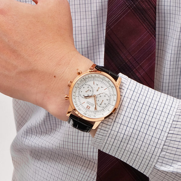 ゲス GUESS protocol PROTOCOL pink gold chronograph quartz watch watch leather  belt [men] [Lady's] W0916G2