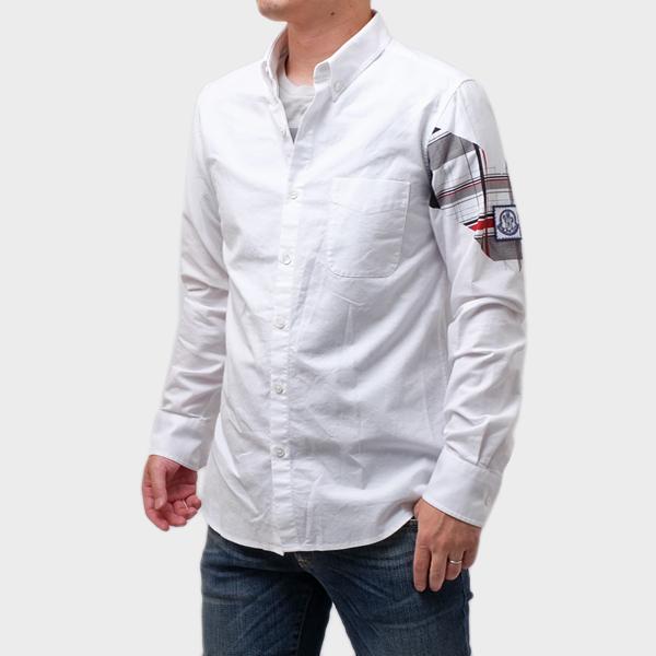 【サイズ3】モンクレール ガムブルー MONCLER GAMME BLEU コットン 長袖 シャツ ホワイト [メンズ] 5201251 26525 001