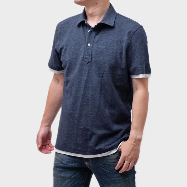 ブルネロクチネリ BRUNELLO CUCINELLI コットン 半袖 ポロシャツ ネイビー [メンズ] MTS493966 CB969