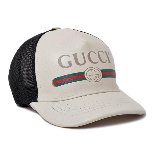 グッチ GUCCI レザー ベースボール キャップ 帽子 アイボリー系 [メンズ] 426887 4HD93 9060