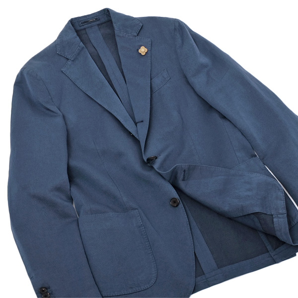 ラルディーニ LARDINI リネン/コットン 3釦 ジャケット ブルー [メンズ] EERL50259 204【通常価格110,000円→SALE価格49,990円】