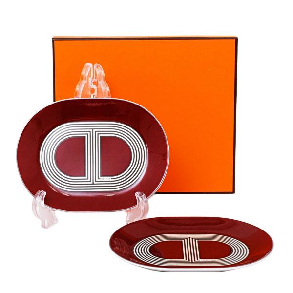 【お買い物マラソン】【2点セット】エルメス HERMES ラリー24 オーバルプレートミニ 15cm レッド 食器 皿 陶器 032289