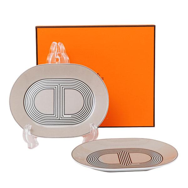 【2点セット】エルメス HERMES ラリー24 オーバルプレートミニ 15cm グレー 食器 皿 陶器 032089
