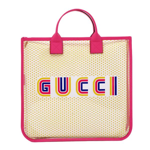 グッチ GUCCI アウトレット キッズ Gucci Amour ビニール トートバッグ フューシャピンク×クリア 550763 97QAN 8922