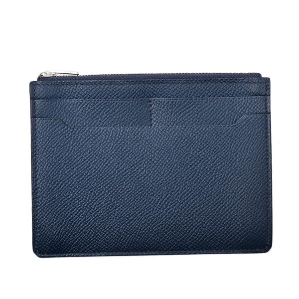エルメス HERMES City zippe wallet レザー カードホルダー コインケース ブルー [メンズ] H071019CA BLUE DE MALT 刻印『D』