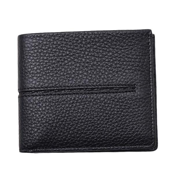 トッズ TOD'S レザー ウォレット 折財布 [小銭入れなし] ブラック [メンズ] XAMACHC030IAM B999