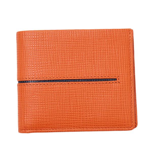トッズ TOD'S レザー ウォレット 折財布 [小銭入れなし] オレンジ×ネイビー [メンズ] XAMACHC03Z0NPH 00W9