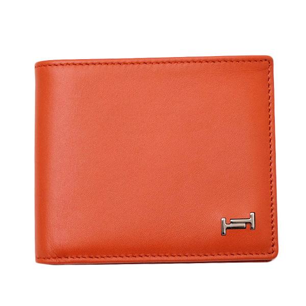 トッズ TOD'S レザー ウォレット 折財布 [小銭入れなし] オレンジ系 [メンズ] XAMAMUC0300PFN G804