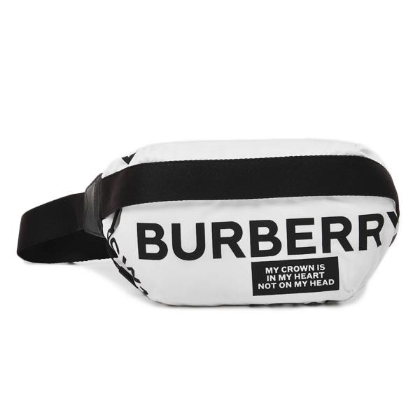【あす楽】バーバリー BURBERRY バッグ【送料無料】 バーバリー BURBERRY ナイロン ロゴプリント クロスボディバッグ ウエストポーチ ホワイト×ブラック [レディース] 8015143 WHITE