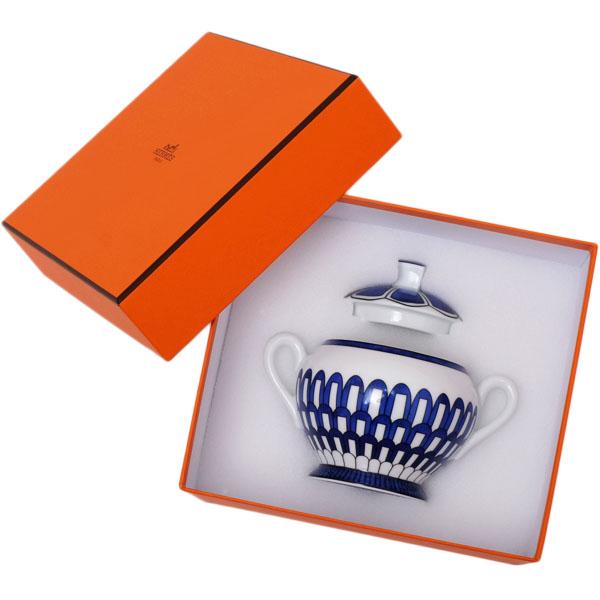 【お買い物マラソン】エルメス HERMES ブルーダイユール シュガーポット 250ml 食器 陶器 ホワイト×ブルー 030020【●D9】