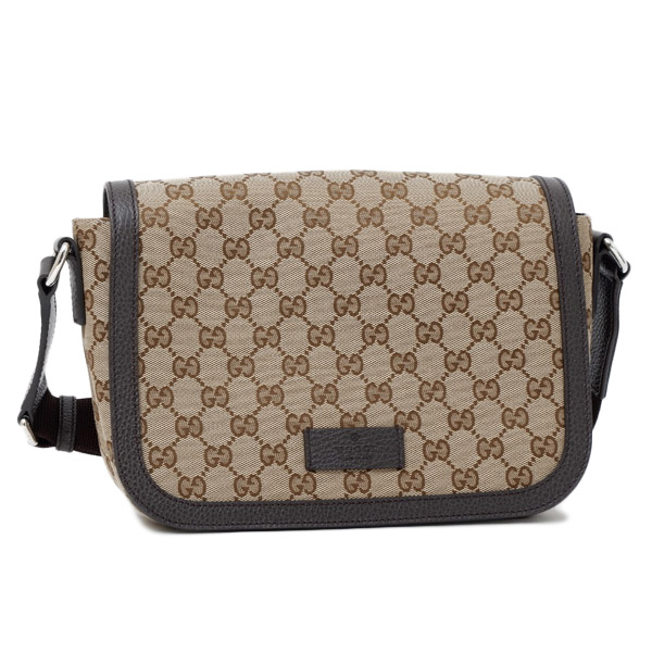 Gucci GUCCI outlet GG canvas leather shoulder bag beige X brown [men]  449172 KY9KN 9886