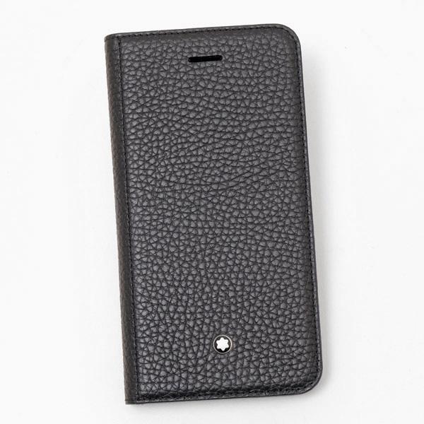【あす楽】モンブラン MONTBLANC iPhone8用 レザー スマホ ケース フリップサイドカバー ブラック 118409