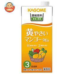 送料無料 【2ケースセット】カゴメ 濃縮飲料 黄やさい・マンゴーミックス(3倍希釈) 1L紙パック×12(6×2)本入×(2ケース) ※北海道・沖縄は別途送料が必要。