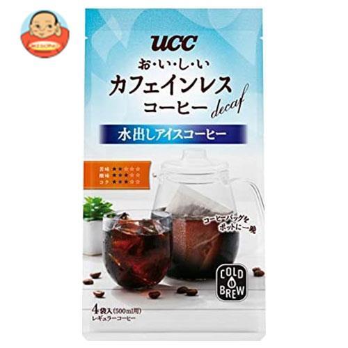 UCC おいしいカフェインレスコーヒー コーヒーバッグ 水出しアイスコーヒー 35g×4P 12袋 コーヒー レギュラーコーヒー ×12 6×2 沖縄は別途送料が必要 初回限定 アイスコーヒー 送料無料 ※北海道 袋入 オンラインショップ