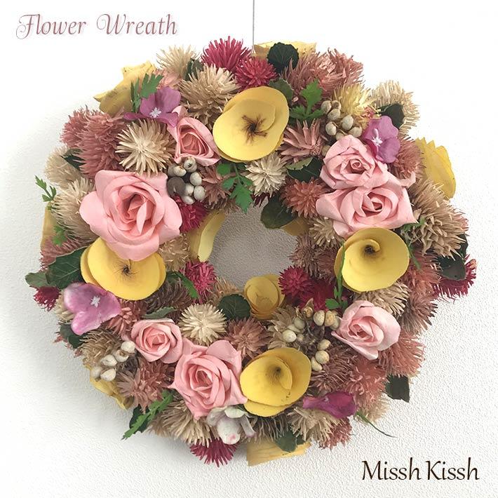 贈り物にも 新作多数 フラワーリース プランタン 交換無料 ドライフラワー Wreath Sサイズ ピンク 25cm 母の日 バラ