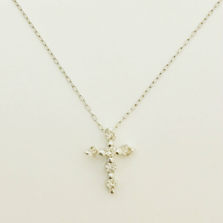 送料無料 現品限り 超特価 18金 K18ホワイトゴールド ダイヤモンドネックレス ダイヤモンドクロスペンダント