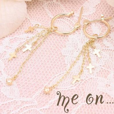 【メール便送料無料/代引き不可】■me on...■日本製★K10イエローゴールド(YG)キュービックジルコニアシャンパン・チェーンクロス・フープピアス【m4789】