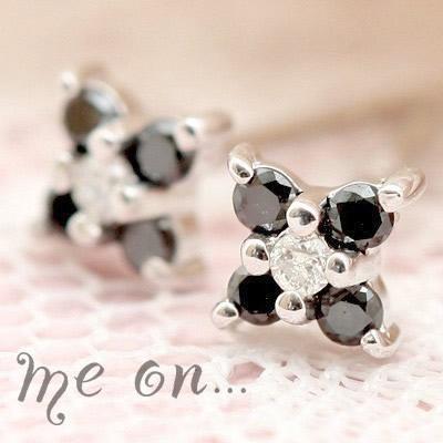 【メール便送料無料/代引き不可】ダイヤモンド&ブラックダイヤK10ホワイトゴールドピアス【50260】