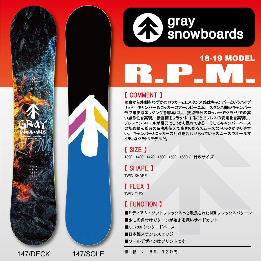 18-19 GRAY RPM (グレイスノーボード)  早期予約割引10%OFF / チューンナップ、ソールカバー付き 【送料無料】【代引手数料無料】【日本正規品】